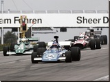 Historical race cars at Grand Prix, Nurburgring Stretched Canvas Print by  Anonymous