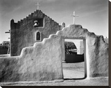 Full side view of entrance with gate to the right, Church, Taos Pueblo National Historic Landmark, Stretched Canvas Print by Ansel Adams