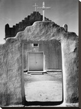 Front view of entrance, Church, Taos Pueblo National Historic Landmark, New Mexico, 1942 Stretched Canvas Print by Ansel Adams