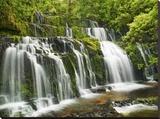 Waterfall Purakaunui Falls, New Zealand Stretched Canvas Print by Frank Krahmer