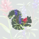 Green Floral Squirrel Poster by  Color Me Happy