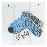 Happy Blue Zebra Art