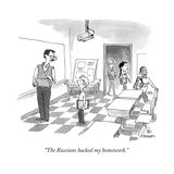"""The Russians hacked my homework."" - Cartoon Regular Giclee Print by Pat Byrnes"