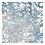 Silver Blue Floral Stamp Posters