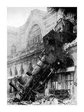 Train wreck at Montparnasse, Paris, 1895 Giclee Print by  Anonymous