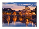 Night view at St. Peter's cathedral, Rome Giclee Print by  Anonymous
