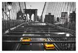 Taxi on Brooklyn Bridge, NYC Giclee Print by  Anonymous