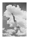 Woman jumping from springboard Giclee Print by  Anonymous