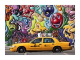 Taxi and mural painting in Soho, NYC Giclee Print by Michel Setboun