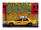 Taxi and mural painting, NYC Giclee Print by Michel Setboun