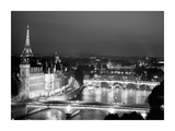 Paris and Seine river at night Giclee Print by Michel Setboun