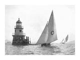 Sloop and Channel Pile Light on Sydney Harbour Giclee Print by  Anonymous
