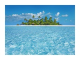 Tropical lagoon with palm island, Maldives Giclee Print by Frank Krahmer