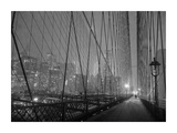 On Brooklyn Bridge by night, NYC Giclee Print by Michel Setboun