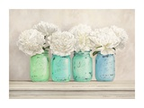 Peonies in Mason Jars Giclee Print by Jenny Thomlinson