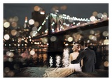 Kissing in a NY Night Giclee Print by Dianne Loumer