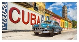 Vintage car and mural, Cuba Giclee Print by  Pangea Images