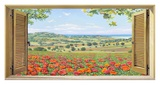 Finestra su campo di papaveri Giclée-tryk af Andrea Del Missier
