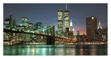 The Brooklyn Bridge and Twin Towers at Night Reproduction procédé giclée par Barry Mancini