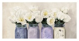 Tulips in Mason Jars (detail) Giclee Print by Jenny Thomlinson
