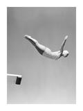 Woman Swan Dive Off Diving Board, 1950 Giclée-Druck von  Anonymous