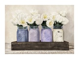 Tulips in Mason Jars Giclee Print by Jenny Thomlinson