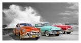 Cars in Avenida de Maceo, Havana, Cuba (BW) Giclee Print by  Pangea Images
