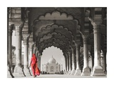 Woman in traditional Sari walking towards Taj Mahal (BW) Giclee Print by  Pangea Images