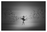 Ballerina Flight Of Birds Giclee Print by Mark Biwit