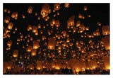 Floating Lanterns Giclee Print by Vichaya