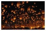 Floating Lanterns Giclee Print by Vichaya