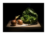 Onions And Lettuce Giclee Print by Antonio Zoccarato
