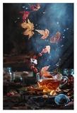 Briar Tea With Autumn Swirl Giclee Print by Dina Belenko