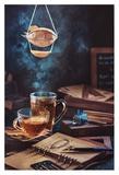 Steampunk Tea (with A Blimp) Giclee Print by Dina Belenko