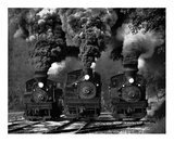 Train Race In Bw Giclee Print by Chuck Gordon