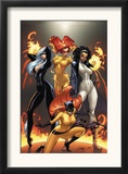 Marvel Divas 1 Cover: Hellcat, Black Cat, Captain Marvel and Firestar Art by J. Scott Campbell