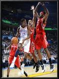 Houston Rockets v Oklahoma City Thunder: Kevin Durant and Jordan Hill Posters by Larry W. Smith