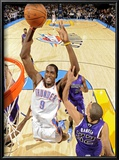 Sacramento Kings v Oklahoma City Thunder: Serge Ibaka and Francisco Garcia Posters by Larry W. Smith
