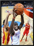 Houston Rockets v Oklahoma City Thunder: Serge Ibaka and Luis Scola Poster by Larry W. Smith