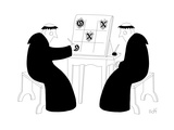 Two monks play tic-tac-toe with calligraphy-style 'x's and 'o's. - New Yorker Cartoon Premium Giclee Print by Seth Fleishman