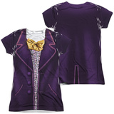 Juniors: Willy Wonka And The Chocolate Factory- Wonka Costume Tee (Front/Back) Womens Sublimated