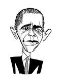 Barack Obama Suit & Tie - Cartoon Regular Giclee Print by Tom Bachtell