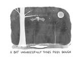A Bat Unsuccessfully Tosses Pizza Dough Bat hanging upside down from a tr... - New Yorker Cartoon Premium Giclee Print by Jason Adam Katzenstein