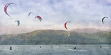 Kite Surfers Giclee Print by Pete Kelly