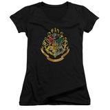 Juniors: Harry Potter- Hogwarts Crest V-Neck T-Shirt