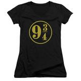 Juniors: Harry Potter- 9 3- 4 Emblem V-Neck Womens V-Necks