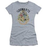 Juniors: Harry Potter- Hogwarts Distressed Crest T-shirts