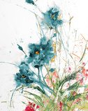 Flora Blue Crop on White Prints by Jan Griggs