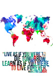 World Map Quote Mahatma Gandi Photographie par  NaxArt