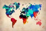 World Watercolor Map 1 Plakater af  NaxArt